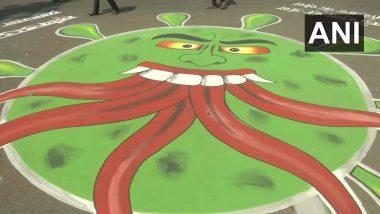 झारखंड: रस्त्यावर संदेश, चित्र साकारुन कलाकारांची कोरोना व्हायरस संदर्भात जनजागृती (See Pics)