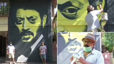 मुंबई: 'खान माझ्या आवडत्या कलाकारांपैकी एक'; प्रसिद्ध कलाकार रणजित दहिया यांनी आपल्या घराच्या भितींवर रेखाटले अभिनेता इरफान खान यांचे छायाचित्र