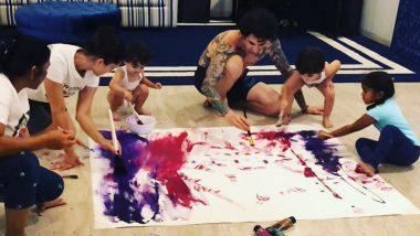 लॉकडाऊन काळात सनी लियोनी ने पती आणि मुलांसोबत बनवली खास पेंटिंग; पहा व्हिडिओ