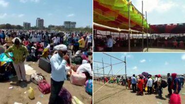 मुंबई: उत्तर प्रदेशला जाण्यासाठी वसईच्या सनसिटी मैदानावर हजारो परप्रांतीय कामगार एकत्र