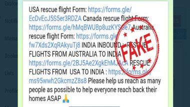 लॉकडाऊनमुळे परदेशात अडलेल्या नागरिकांना परतण्यासाठी 'RESCUE FLIGHTS FROM INDIA' गूगल फॉर्म सोशल मीडियावर व्हायरल; PIB Fact Check सांगितले सत्य
