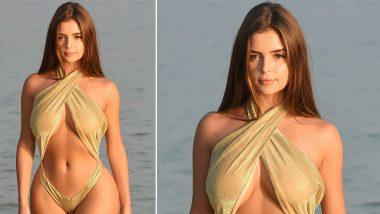 Demi Rose Sexy Bikini Photo: अमेरिकन मॉडेल डेमी रोज चे समुद्र किना-यावरील सोनेरी रंगाच्या बिकिनीमधील हॉट फोटोज सोशल मिडियावर व्हायरल