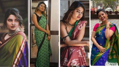 Prajakta Mali Saree Photos: अभिनेत्री प्राजक्ता माळी चा पारंपारिक ते फ्युजन साड्यांमधील हॉट अंदाज ठरतोय फॅशन गाईड (View Pics)