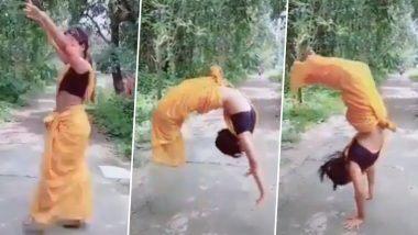 साडीत Back Flip Jump मारणाऱ्या महिलेचा व्हिडिओ सोशल मीडियात व्हायरल; नेटकऱ्यांकडून कौतुकाचा वर्षाव (Watch Video)
