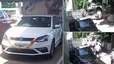 ब्रँन्ड न्यू VW पोलो कारच्या गाडीवरील ताबा सुटल्यानंतर मालकाचा शोरुमच्या गेटवरच झाला अपघात (Watch Viral Video)