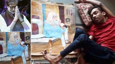 अमिताभ बच्चन एका अपंग चाहत्याने पायाने रेखाटले त्यांचे चित्र; बिग बींनी शेअर केला फोटो