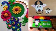 Maharashtra Bendur Rangoli Designs: महाराष्ट्र बेंदूर सणानिमित्त सुरेख रांगोळी काढून या दिवसाची करा मंगलमयी सुरुवात, Watch Videos