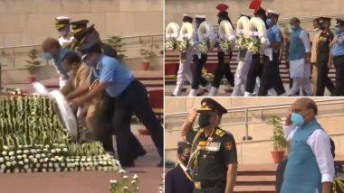 Kargil Vijay Diwas 2020: कारगिल विजय दिनानिमित्त संरक्षणमंत्री राजनाथ सिंह सह तीनही सैन्यदलाच्या प्रमुखांनी राष्ट्रीय युद्ध स्मारकावर जाऊन शूरवीरांना दिली मानवंदना; Watch Video