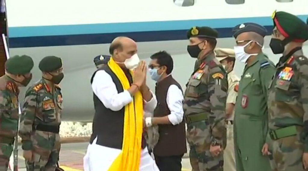 केंद्रीय संरक्षणमंत्री राजनाथ सिंह लेह मध्ये दाखल; जम्मू कश्मीर, लद्दाखचा 2 दिवसांचा दौरा