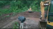 Landslide at Dhamandevi: रायगड मधील धामणदेवी गावात दरड कोसळल्याने मुंबई-गोवा राष्ट्रीय महामार्ग रात्रीपासून ठप्प; दरड उपसण्याचे काम सुरु