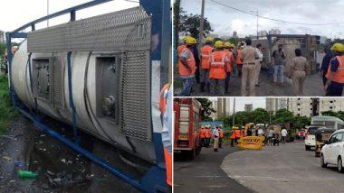 ठाण्यातील घोडबंदर रोडवर केमिकल ट्रक पलटला; घटनास्थळी अग्निशमन दलाच्या गाड्या दाखल