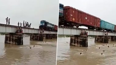 Watch Video: धावत्या रेल्वेसमोरुन मुलांनी घेतल्या पूर आलेल्या नदीत उड्या; मग पुढे काय झाले? तुम्हीच पाहा