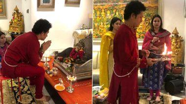 Sachin Tendulkar Celebrates Ganesh Chaturthi: गणपती बाप्पा मोरया! सचिन तेंडुलकरने केली भगवान गणेशाची स्थापना, पत्नी अंजली आणि मुलगी सारा सोबत केली आरती(See Pics & Video)