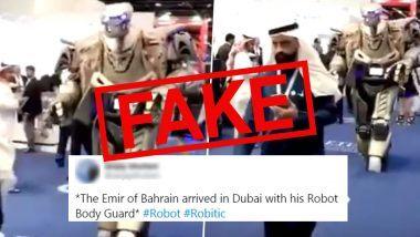 The Emir of Bahrain Arrived in Dubai With His Robot Body Guard Viral Video: जाणून घ्या दुबई मध्ये  हमाद बिन ईसा अल-खलीफा यांच्या व्हायरल व्हिडिओ मागील सत्य