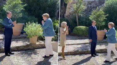 नमस्ते झालं ग्लोबल! President of France, Emmanuel Macron यांनी नमस्कार करत Chancellor of Germany Angela Merkel यांचं केलं स्वागत! (Watch Video)
