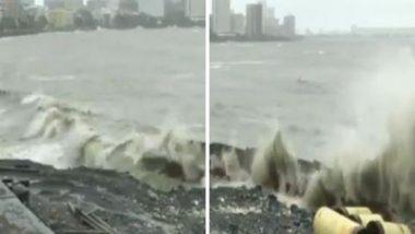 Mumbai High Tide Today: मुंबईच्या समुद्रात उसळल्या उंचच उंच लाटा; पुढील 3 तास मुसळधार पावसाचा अंदाज (Watch Video)