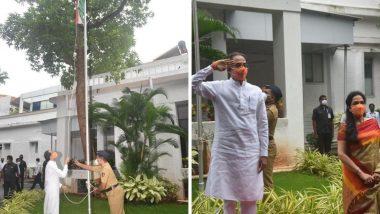 Independence Day 2020: महाराष्ट्राचे मुख्यमंत्री उद्धव ठाकरे यांंच्या हस्ते वर्षा बंंगल्यावर ध्वजारोहण, पहा फोटो