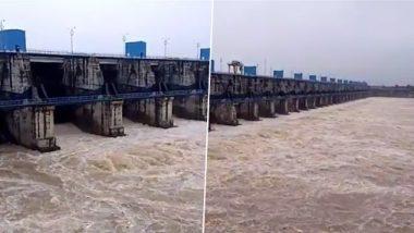 Wainganga River: भंडारा जिल्ह्यात मुसळधार पावसामुळे वैनगंगा नदीच्या जलस्तरात वाढ; गोसेखुर्द धरणाचे एकूण 33 दरवाजे उघडले; पहा व्हिडिओ