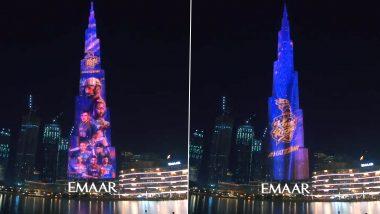 KKR vs MI, IPL 2020: दुबईमध्ये कोलकाता नाईट रायडर्सचे भव्य स्वागत,बुर्ज खलिफावर झळकले खेळाडूंचे फोटो, पाहा याआकर्षक रोषणाईची झलक(Watch Video)