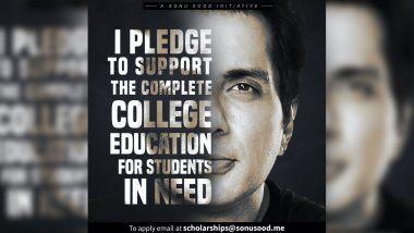Sonu Sood to Launch Full Scholarship:  गरीब विद्यार्थ्यांना मोफत शिक्षण मिळण्यासाठी सोनू सूद करणार मदत; आईच्या नावाने लॉन्च केली स्कॉलरशिप (View Post)