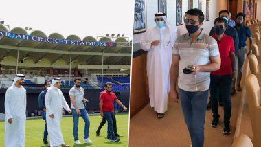 IPL 2020 Update: बीसीसीआय बॉस सौरव गांगुली यांनी शारजाह क्रिकेट स्टेडियमचा केला दौरा, आयपीएल 13 पूर्वी तयारीचा घेतला आढावा (See Pics)
