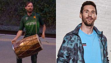 Lionel Messi Spotted Playing Dhol in Manchester: मॅनचेस्टर येथे पाकिस्तानी क्रिकेट जर्सीत लिओनेल मेस्सी याला ढोल वाजवताना पाहून नेटकरी चकित, पाहा Photo