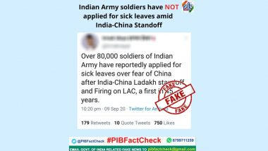 Fact Check: भारत-चीन तणावादरम्यान 80,000 भारतीय जवानांनी केला सुट्टीसाठी अर्ज? PIB ने सांगितले व्हायरल ट्विट मागील सत्य