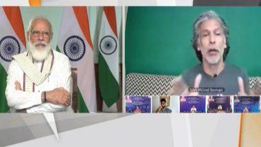 PM Modi Interacts with Fitness Influencers: फिट इंडिया मोहिमेच्या वर्षपूर्ती निमित्त पंतप्रधान नरेंद्र मोदी यांनी मिलिंद सोमण याच्याशी साधला संवाद; पहा फिटनेसबद्दल काय म्हणाला आयर्न मॅन