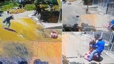 Viral Video: ताबा सुटल्याने चिमुकला वॉकरसह रस्त्यावर, बाईक वरुन उडी मारुन तरुणाने वाचवला अपघात, पहा हा व्हिडिओ