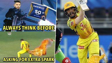IPL 2020: जाता जाता दाखवला Spark! CSKच्या रुतुराज गायकवाडच्या दमदार अर्धशतकानंतर व्हायरल झाले पोट धरून हसवणारे मिम्स