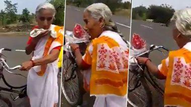 Buldhana: 68 वर्षीय मराठी आजीबाईंचे धाडस; सायकलवरून तब्बल 2200 किमीचा प्रवास करून गाठणार 'वैष्णोदेवी' (Watch Video)