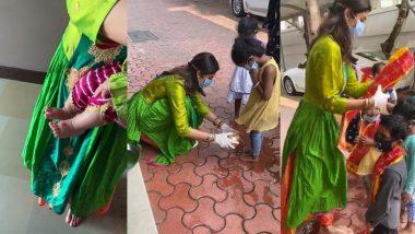 Shilpa Shetty Performs kanya Puja: नवरात्रात अष्टमीच्या निमित्ताने अभिनेत्री शिल्पा शेट्टीने केली कन्या पूजा; 9 मुलींचे पाय धुवून केली त्यांची पूजा (Watch Video)
