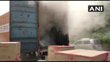 Mumbai Fire: प्लास्टिक PVC फिटिंग मटेरियल नेणाऱ्या  कंटेनरला मुंब्रा बायपास जवळ आग; RDMC ची टीम, अग्निशमन दल घटनास्थळी दाखल