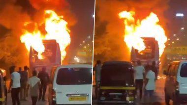 मुंबई: सानपाडा नजीक सायन-पनवेल महामार्गावर लक्झरी बस आगीत जळून खाक (Watch Video)