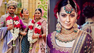 Kangana Ranaut Brother Aksht's Wedding: भाऊ अक्षतच्या लग्नात कंगना रनौत हिचा पारंपारिक लूक पाहून चाहते झाले घायाळ, See Pics