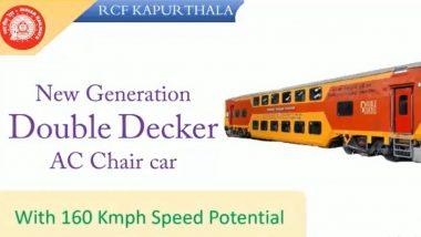 Double-Decker Coach: भारतीय रेल्वेने बनवले आधुनिक सुविधांनी सुसज्ज डबल डेकर कोच; स्पीड 160 किमी प्रतितास, जाणून घ्या खासियत (Watch Video)
