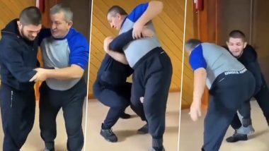 Khabib Nurmagomedov ने शेअर केला वडिलांसोबत कुस्ती करतानाचा कधी न पाहिलेला व्हिडिओ, माजी UFC LightWeight फायटरने दिले हृदर्यस्पर्शी कॅप्शन