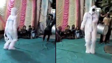 PPE किट घालून विवाहसोहळ्यात व्यक्तीचा जबरदस्त डान्स; पहा व्हायरल व्हिडिओ