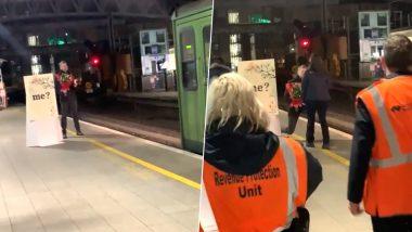 तरुणाने ट्रेन ड्रायव्हर तरुणीला स्टेशनवरच केले प्रपोज; खास क्षणांचा व्हिडिओ व्हायरल