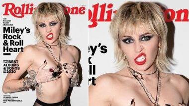 Miley Cyrus Goes Topless: अमेरिकेची प्रसिद्ध अभिनेत्री मायली सायरल हिचा टॉपलेस फोटोशूट पाहून सर्वांनीच उंचावल्या भुवया, पहा Hot Photos