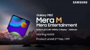 Samsung Galaxy M02 स्मार्टफोन 2 फेब्रुवारी रोजी होणार लॉन्च; जाणून घ्या किंमत आणि खासियत