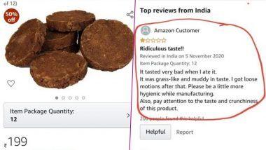 Amazon ग्राहकाने शेणाच्या गोवर्यांची चव चाखून पोस्ट केलेला रिव्ह्यू वायरल; पहा Tweet!