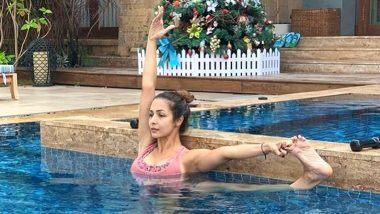 Malaika Arora Hot Photo: स्विमिंग पूल मध्ये योगा करताना दिसली मलायका अरोरा, फोटो पाहून तुम्हीही व्हाल थक्क
