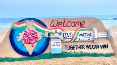 Together We Can Win म्हणत सुदर्शन पटनायक यांनी कोविड-19 लसीकरण मोहिमेच्या स्वागतासाठी साकारले सुंदर वाळुशिल्प! (See Pic)