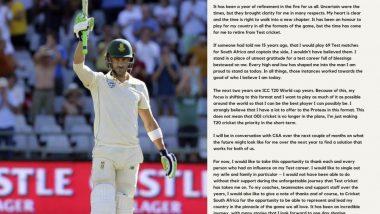Faf du Plessis, दक्षिण आफ्रिका च्या फलंदाजाने Test cricket मधून निवृत्तीची इंस्टाग्राम पोस्ट द्वारा केली घोषणा