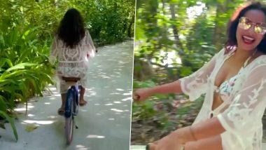Bipasha Basu Sexy Outfit: बिपाशा बसू चा मालदिव मधील हॉट अवतारातील व्हिडिओ झाला व्हायरल, सेक्सी आउटफिटमध्ये सायकल चालवताना दिसली अभिनेत्री