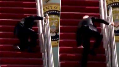 अमेरिकेचे राष्ट्राध्यक्ष Joe Biden विमानात चढताना घसरले (Watch Video)