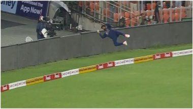 IND vs ENG 1st T20 2021: KL Rahul याची सुपरमॅन डायव्ह, बाउंड्री लाईनवर हवेत उडी घेत वाचवला सिक्स, व्हिडिओ पाहून तुम्हीही व्हाल हैराण
