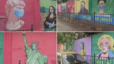 मुंबई: COVID 19  बाबत जनजागृती पसरवण्यासाठी Mona Lisa, Frida Kahlo, Marilyn Monroe, Statue of Liberty यांच्या ग्राफिटी सह सजल्या JJ Hospital च्या भिंती