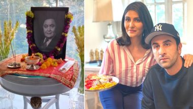 Rishi Kapoor यांच्या पहिल्या पुण्यतिथी निमित्त Ranbir Kapoor ने कुटुंबियांसमवेत केली ऑनलाईन पूजा; पहा Photo